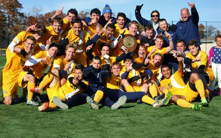 Photo courtesy of the Schoolcraft Athletic Department. The Schoolcraft Mens Soccer team celebrates a 1-0 overtime victory against the Ancilla Community College Chargers, earning them the NJCAA Region XII Championship title. The team will continue on to the NJCAA Division 1 National Championship Tournament.