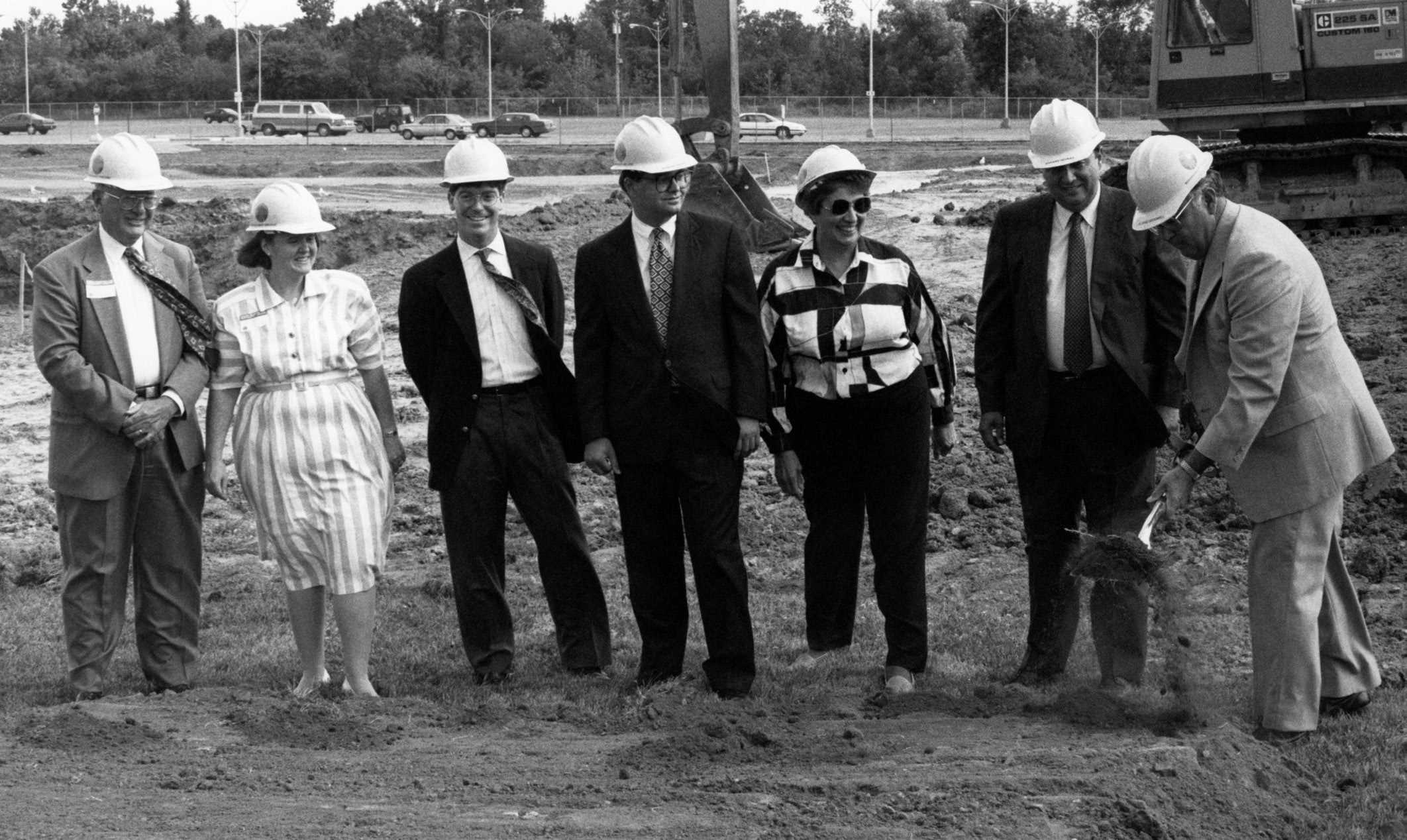 The McDowell Center was a major construction event that occurred on campus during the 90s. Schoolcraft's president at the time, Dr. Richard McDowell, right, breaks the ground for the new building. Next to him, from right to left are Board of Trustee members Richard Devries, Mary Breen, Stephen Ragan, John Walsh, Patricia Watson and Harry Greenleaf.