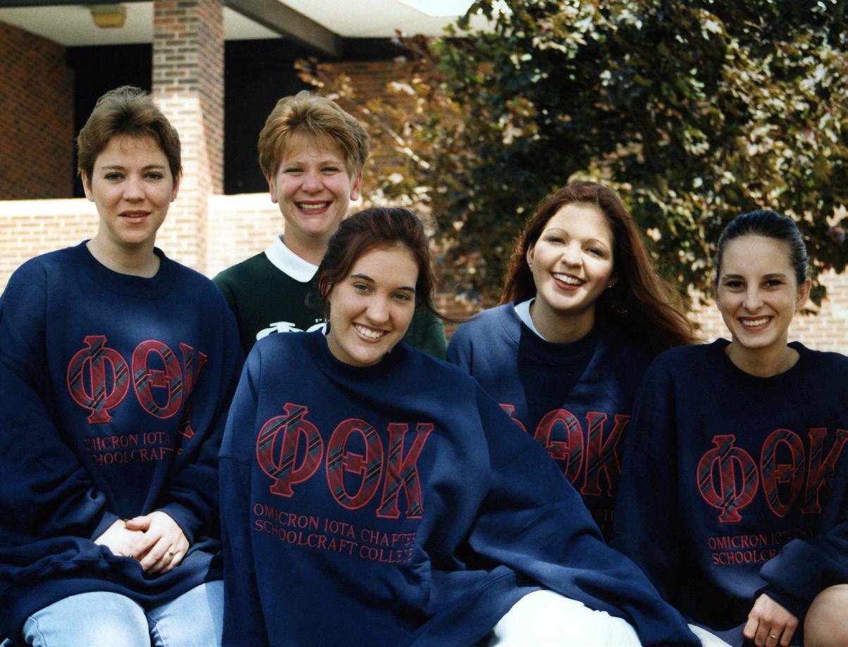 Phi Theta Kappa in 1999 consisted of (from left to right) president Jennie Howard, recording secretary Melanie Turner, secretary Sherry Bowerman, vice president Kelly Eva and treasurer Felicia Crawford.