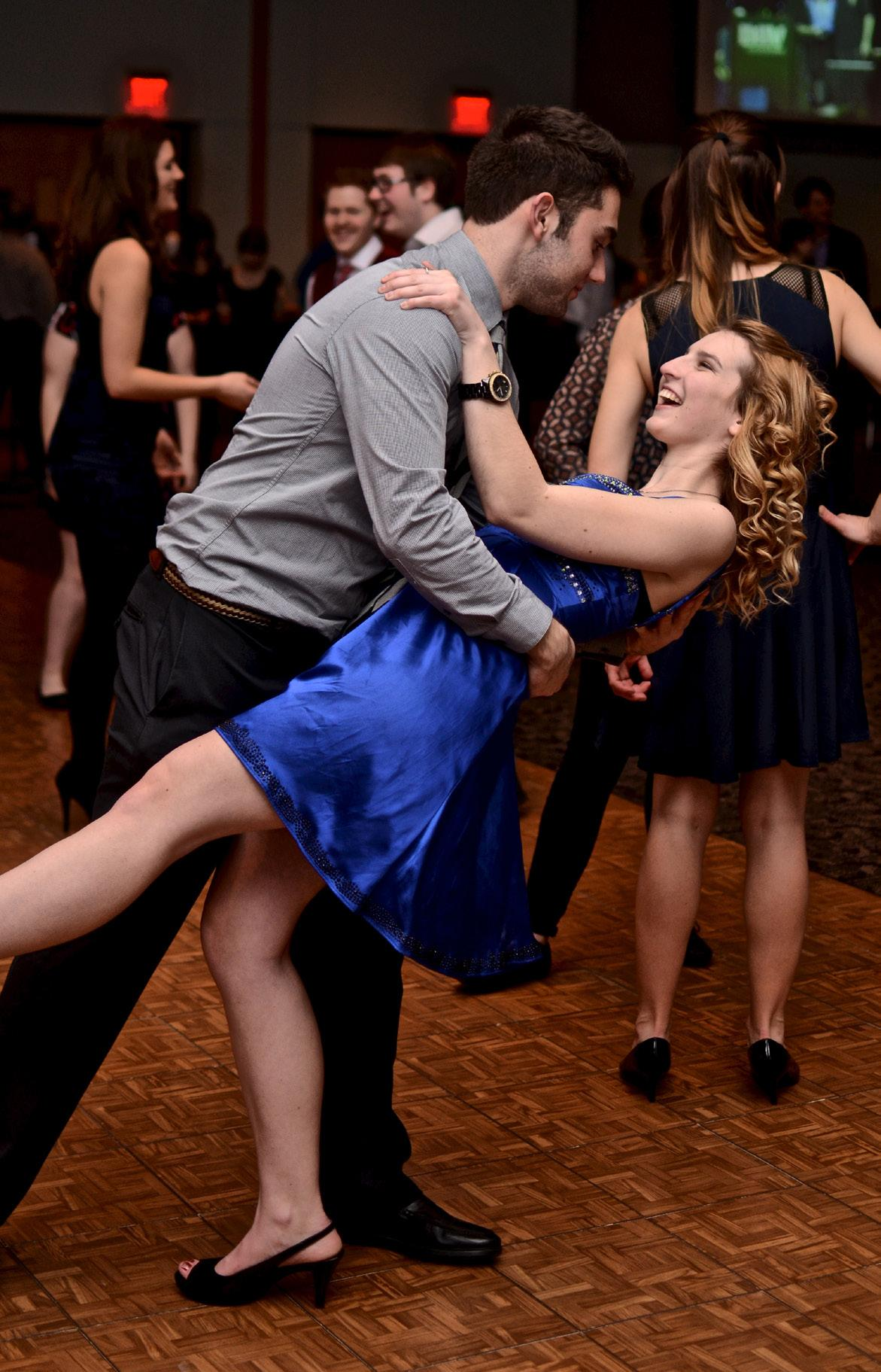 PHOTO BY MARGARET SHAW STAFF PHOTOGRAPHER Schoolcraft students Courtney Deska and Anthony Sloan participate in the Swing into Service dance that Phi Theta Kappa held in late 2014. The money raised from the dance benefited many veterans.