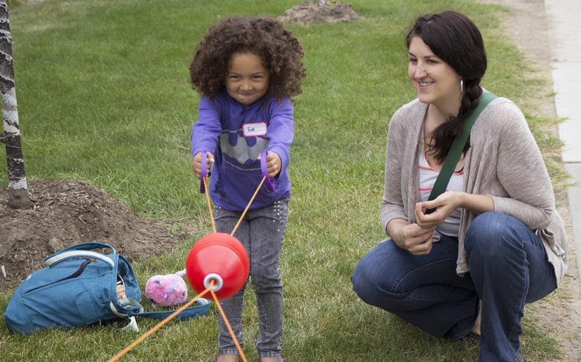 Preschooler Eva Radke, 4, participated in The Preschool Adventures course last summer while mother Brianne Radke watches.
