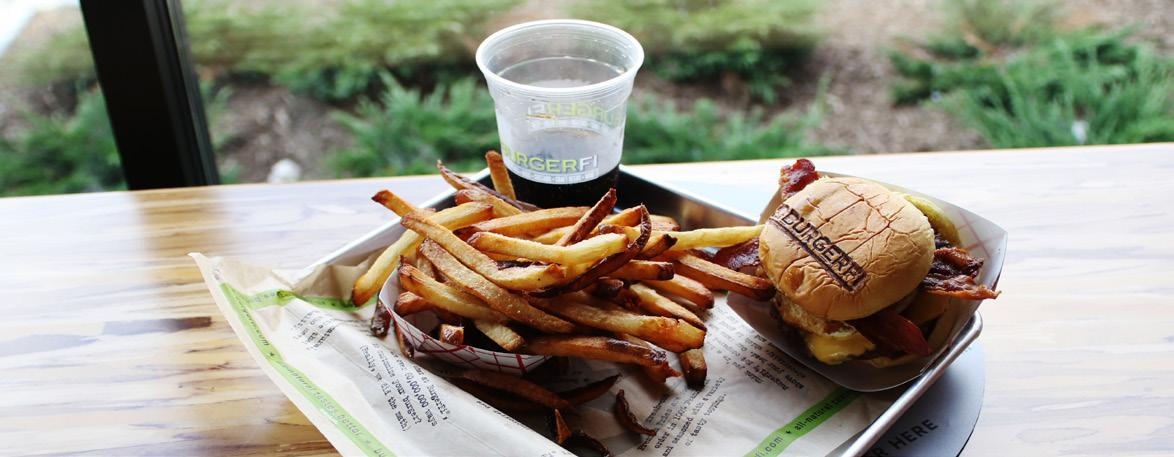 One of Burger Fi's more delicious options, the Bacon Cheeseburger and fresh cut fries. The burgers are GMO-free, making them a healthier option.