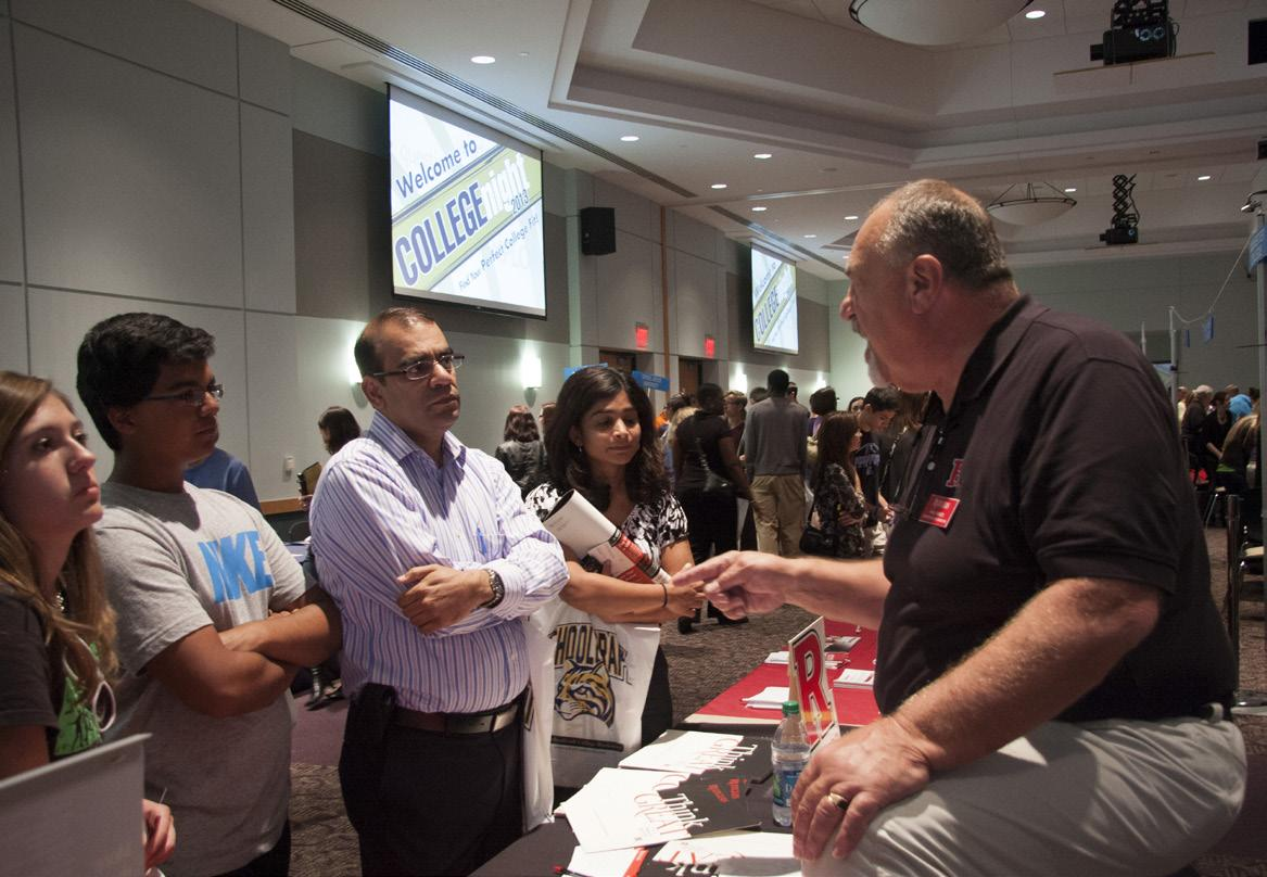 Students learn about potentail scholarship opportunities at the High School College Night.