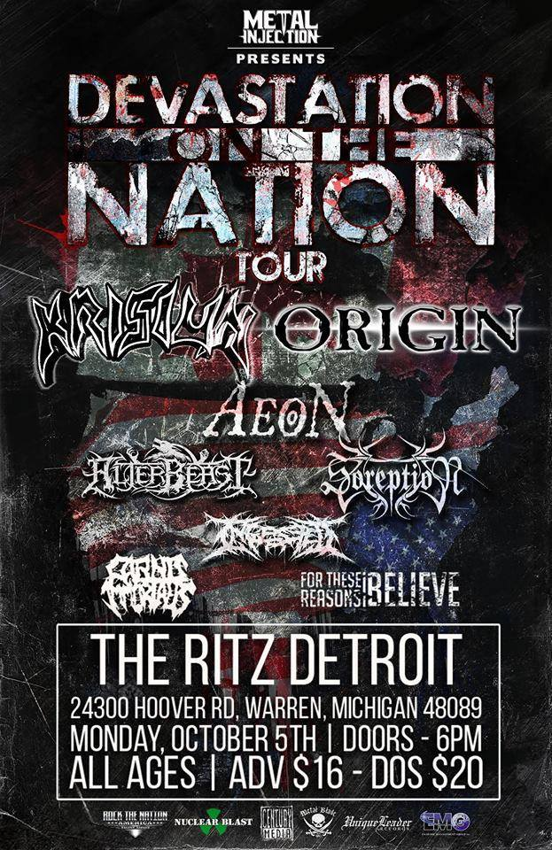 Carnis Immortalis plays Devastation on the Nation on Oct. 5 at The Ritz in Warren, Michigan.