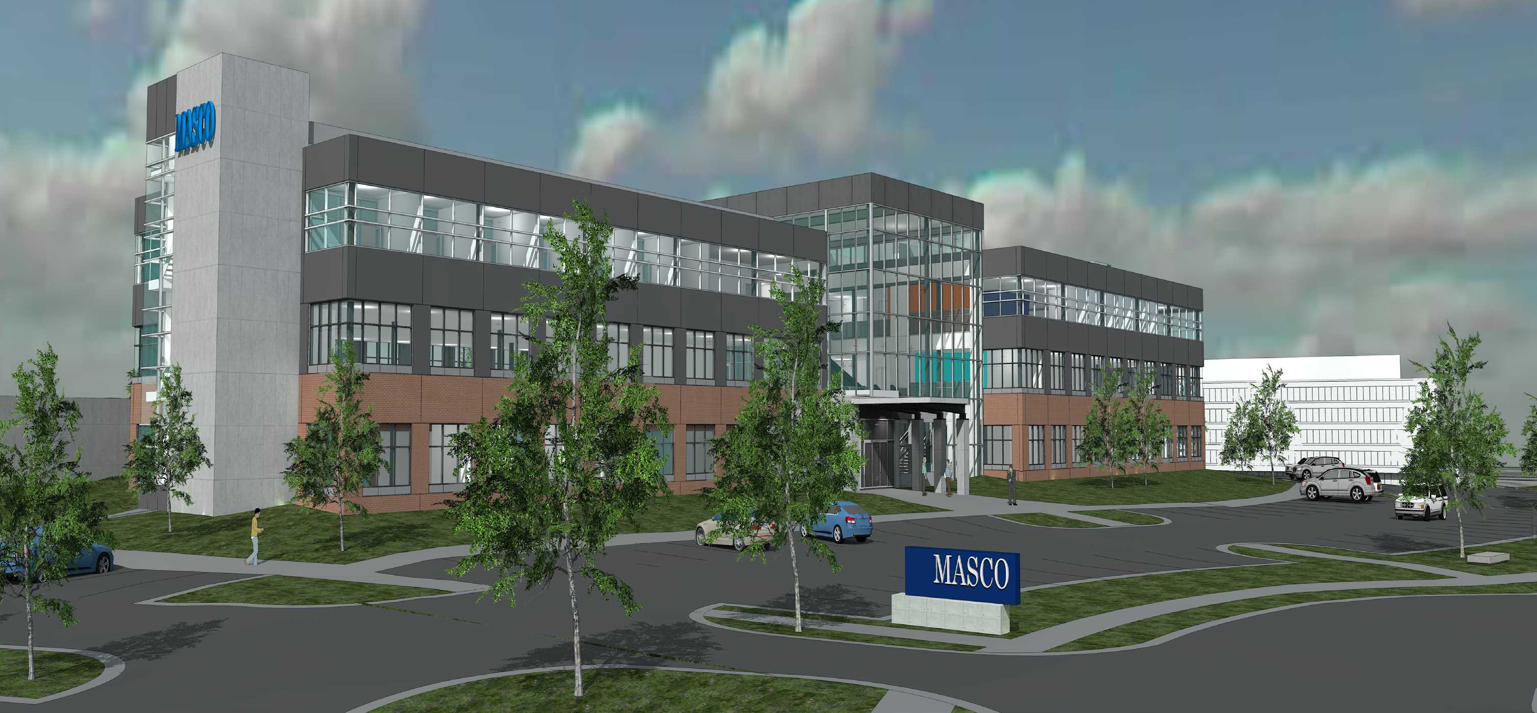 IMAGE COURTESY OF SCHOSTAK BROTHERS & COMPANY This is the digital southwest view of Masco's headquarters that will soon be on Schoolcraft grounds. Construction starts this month.