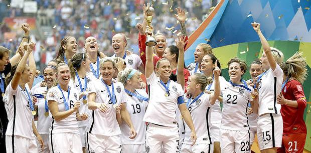Image from sun journal.com US Women's Soccer team celebrate the 2015 World Cup Championship in Canada, showing women's advancement in sports.