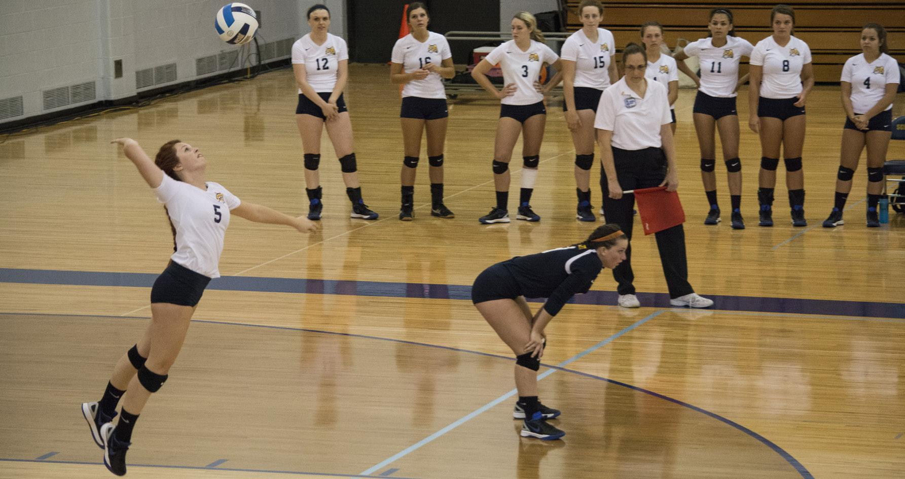 PHOTOS BY ALEX REGISH |STAFF PHOTOGRAPHER The Lady Ocelots look on as outside hitter Madison Dest (5) hits a strong serve against St. Clair County on Sept. 15.