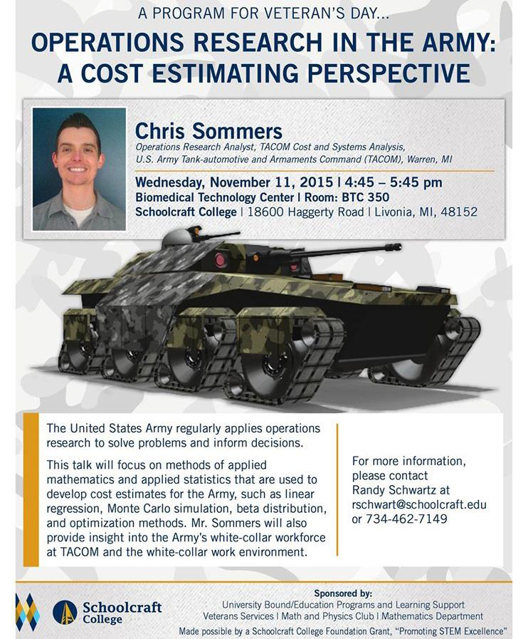 IMAGE COURTESY OF SCHOOLCRAFT COLLEGE Come engage in the details of mathematics and war with Chris Sommers at his Veteran's day speech.