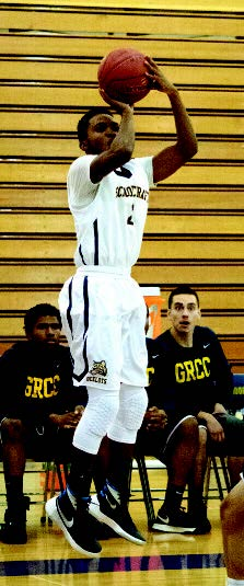 Schoolcraft Freshman Guard Bryan Collins puts down a three in a landslide game against Grand Rapids Community College on Nov. 7.