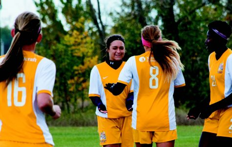 PHOTOS BY ALEX REGISH | STAFF PHOTOGRAPHER The lady Ocelots celebrate a goal against Ancilla at Schoolcraft College on Oct. 16.