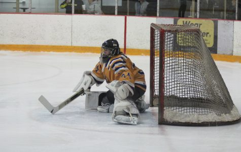 Goalie Bryan Donaldson defends the goal from the Northwood Timberwolves only letting in two goals the whole game. (Photo by Elizabeth Casella, Managing Editor)