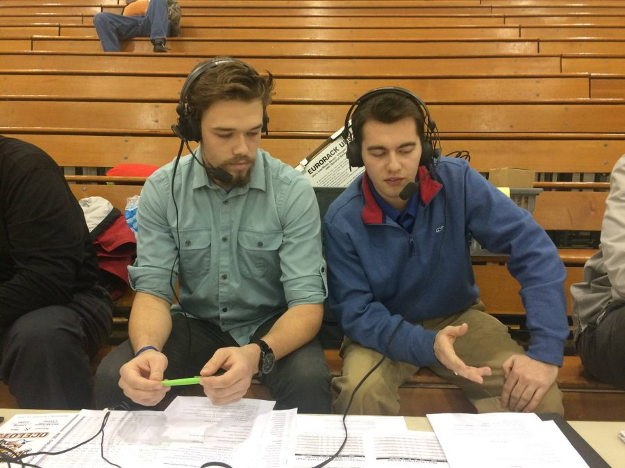 Schoolcraft+Broadcasting+Club+members+%28left+to+right%29+Cameron+Gwinn+and+James+Paxson+provides+live+audio+play+by+play+at+a+recent+Schoolcraft+basketball+game.+%28Photo+by+Atticus+Laird%2C+Photo+Editor%29