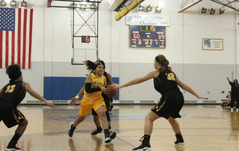 Schoolcraft's Taia Parker is driving towards the net against Morgan Griggs of Mott Community College.