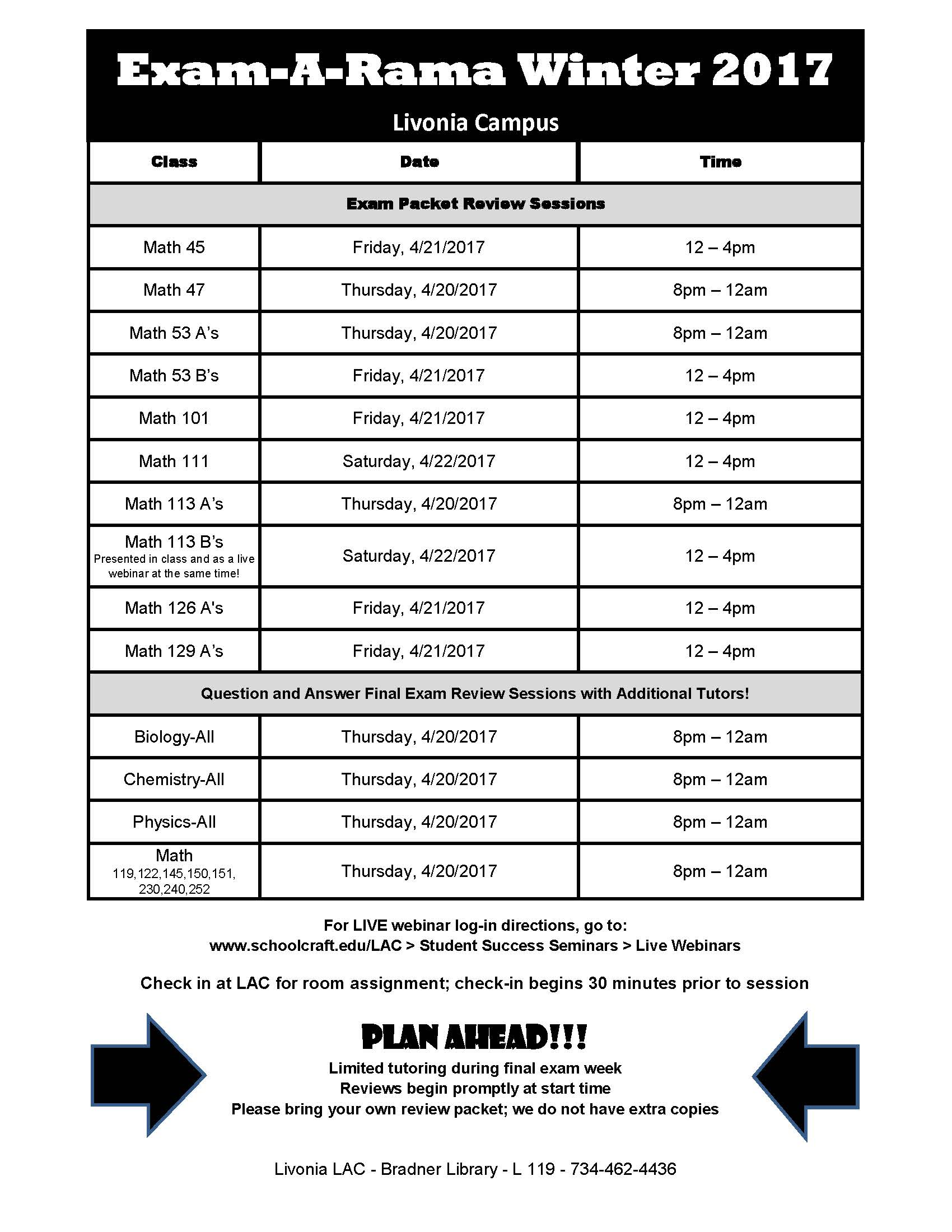 Winter 2017 Exam-A-Rama Schedule