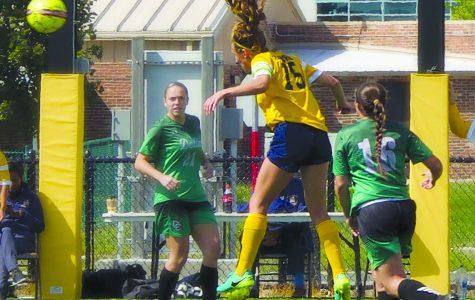 Schoolcraft's Olivia Bordorf (#15) heads the ball towards Delta's goal on September 9. (Photo By Heidi Allen, Staff Photographer.)