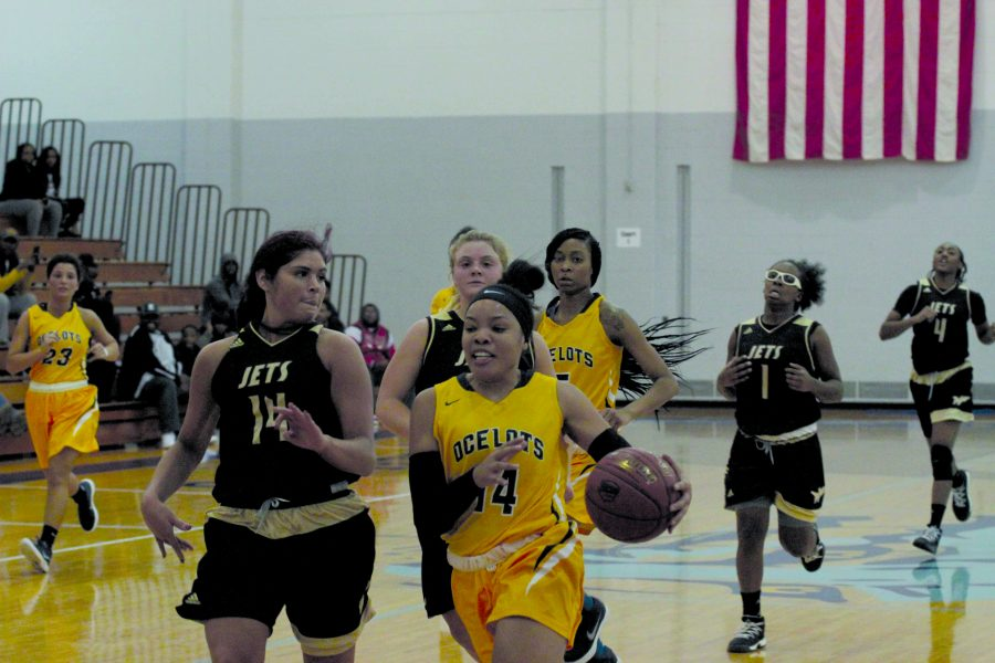 Guard Taia Parker (#14) defends against forward Anastasia Ramos of Jackson to contribute to the 74-61 win over the Jets on Nov. 8. (Photo by David Vega, Staff Photographer)