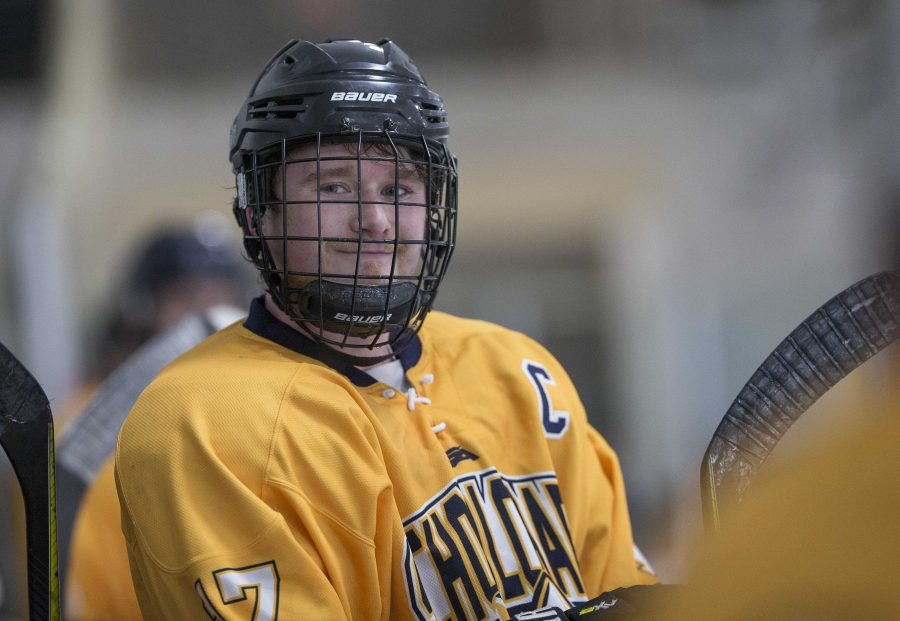 """""""I give 110%, because I want other players to see how hard I'm working, and I want them to match my intensity."""" (Andrew Nowak, Hockey Team Captain)"""