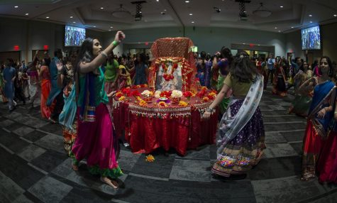Attendees dance during Navratri Garba in 2019. The Asian Student Association presents this years Navratri Garba Friday, Oct. 1, from 7 p.m. to midnight inside the VisTaTech Center.