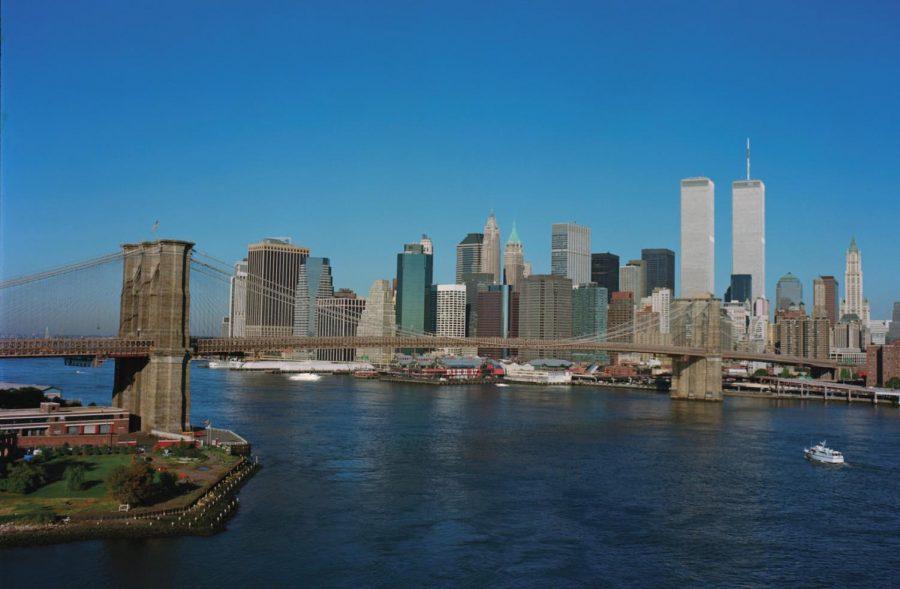 Lower Manhattan around 8:30 a.m. on September 11, 2001. Photo by David Monderer.