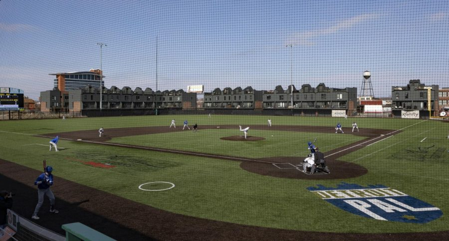 Schoolcraft's Men's Baseball team, shown here during the 2021 season, calls The Corner Ballpark home. Off the field, the Ocelots assist in community outreach by helping the Detroit Police Athletic League.